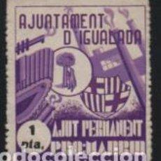 Sellos: IGUALADA, 1 PTA, VIOLETA, AJUT PERMANEIT--PRO-MADRID,-, VER FOTO. Lote 194924883