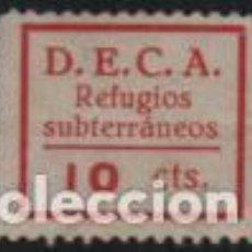Sellos: VIÑETA, D.E.C.A. 10 CTS--REFIGIOS SUBTERRANEOS, VER FOTO. Lote 194925190