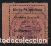AVILA, 1 PTA,-SUBSIDIO PRO COMBATIENTE Y SALVOCONDUCTO, VER FOTO (Sellos - España - Guerra Civil - De 1.936 a 1.939 - Usados)