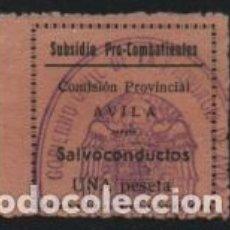 Sellos: AVILA, 1 PTA,-SUBSIDIO PRO COMBATIENTE Y SALVOCONDUCTO, VER FOTO. Lote 194925811