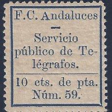 Sellos: F.C. ANDALUCES. SERVICIO PÚBLICO DE TELÉGRAFOS. 10 CTS. NÚM. 59. MNH **. Lote 194962710