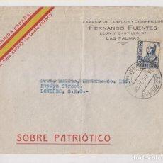 Sellos: SOBRE PATRIÓTICO. LAS PALMAS, CANARIAS. 1937. A LONDRES.. Lote 194965033
