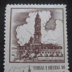 Sellos: CATEDRAL DE LA SEO. FERIAS Y FIESTAS DEL PILAR ZARAGOZA 11-18 OCTUBRE. FOURNIER VITORIA. Lote 195045868