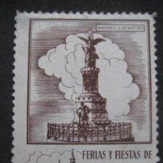 Sellos: MONUMENTO A LOS MARTIRES. FERIAS Y FIESTAS DEL PILAR ZARAGOZA 11-18 OCTUBRE. FOURNIER VITORIA. Lote 195046651