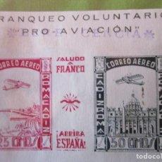 Sellos: HOJITA FRANQUEO VOLUNTARIO PRO AVIACION RESELLADO BENEFICENCIA CORREO AEREO CADIZ ROMA. Lote 195052160