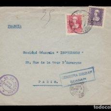 Sellos: *** CARTA BEASAIN-PARIS 1939. CENSURA Y FRANQ. COMP. AUXILIAR DE FERROCARRILES DE BEASAIN ***. Lote 195140761