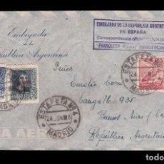 Sellos: *** CARTA MADRID-BUENOS AIRES 1938. CORRESPONDENCIA DIPLOMÁTICA, EMBAJADA DE ARGENTINA. ***. Lote 195141378