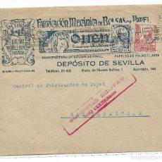 Sellos: CARTA DE SEVILLA A SAN SEBASTIAN CON CENSURA MILITAR. Lote 195196411