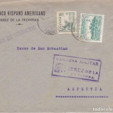 Sellos: F6-8- GUERRA CIVIL. CARTA JEREZ DE LA FRONTERA CÁDIZ 1937. LOCAL Y CENSURA. Lote 195234855