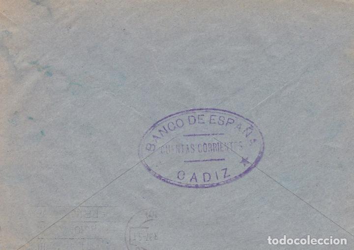 Sellos: F6-12- Guerra Civil. carta Cádiz - Burgos 1937. Local e Isabel Católica Pie Corto - Foto 2 - 195235027