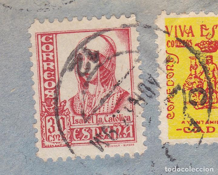 Sellos: F6-12- Guerra Civil. carta Cádiz - Burgos 1937. Local e Isabel Católica Pie Corto - Foto 3 - 195235027