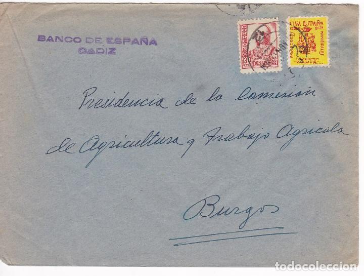 F6-12- GUERRA CIVIL. CARTA CÁDIZ - BURGOS 1937. LOCAL E ISABEL CATÓLICA PIE CORTO (Sellos - España - Guerra Civil - De 1.936 a 1.939 - Cartas)