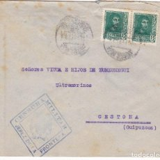 Sellos: F6-12- GUERRA CIVIL. CARTA JEREZ FRONTERA CÁDIZ - CESTONA 1938. LOCAL Y CENSURA . Lote 195235200