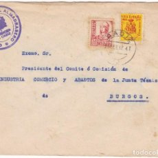 Sellos: F6-13- GUERRA CIVIL. CARTA CONSORCIO ALMADRERO CÁDIZ 1937. LOCAL E ISABEL CATÓLICA PIE CORTO. Lote 195235495