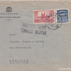 Sellos: F6-15- GUERRA CIVIL. CARTA GERENCIA BUQUES INCAUTADOS CÁDIZ 1937. LOCAL Y CENSURA. Lote 195235857