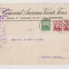 Sellos: SOBRE. BARCELONA A LONDRES. 1937. CENSURA MILITAR Y VIÑETA AL DORSO. Lote 195243168