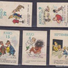 Sellos: AA34- LOTE 5 CROMOS / VIÑETAS CHISTES CALENDARIO CON PUBLICIDAD BARCELONA . CON GOMA . Lote 195263472
