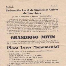 Sellos: F8-2- PANFLETO GRANDIOSO MITIN SINDICATOS UNICOS BARCELONA CNT AIT . Lote 195265797