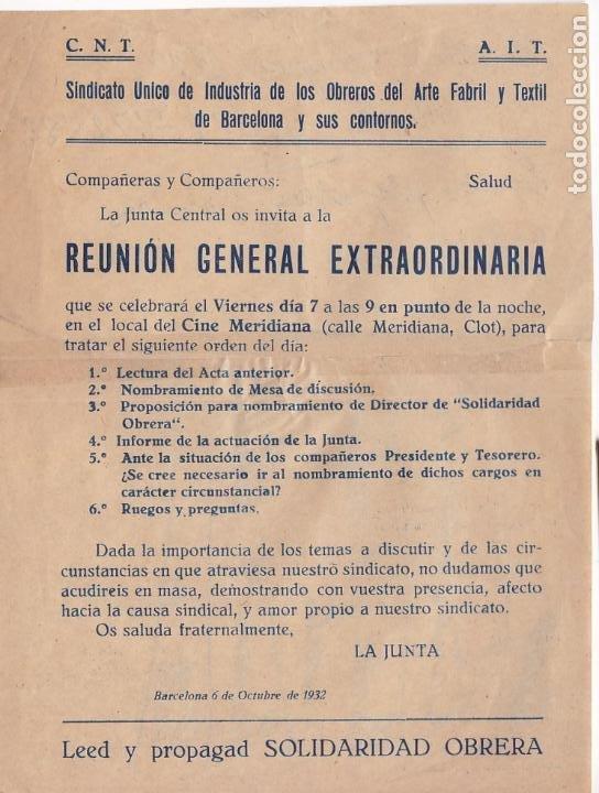 F8-3- PANFLETO REUNIÓN GRAL EXTRAORDINARIA OBRERO TEXTIL BARCELONA CNT AIT.1932 (Sellos - España - Guerra Civil - De 1.936 a 1.939 - Cartas)