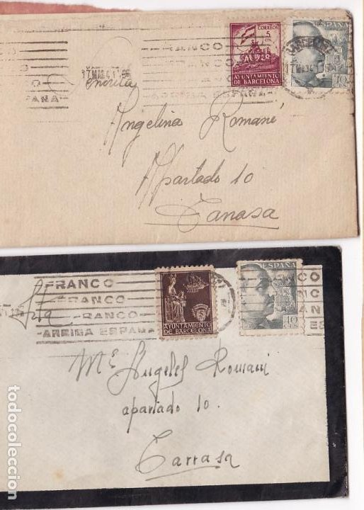 F8-3- LOTE 2 CARTAS CON TEXTO BARCELONA - TARRASA 1941 (Sellos - España - Guerra Civil - De 1.936 a 1.939 - Cartas)