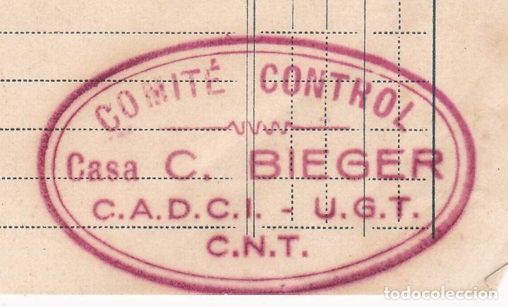 Sellos: F8-4- Guerra Civil . Factura Pianos C. Bieger BARCELONA con Marca Comité Control CADCI UGT CNT - Foto 2 - 195267450