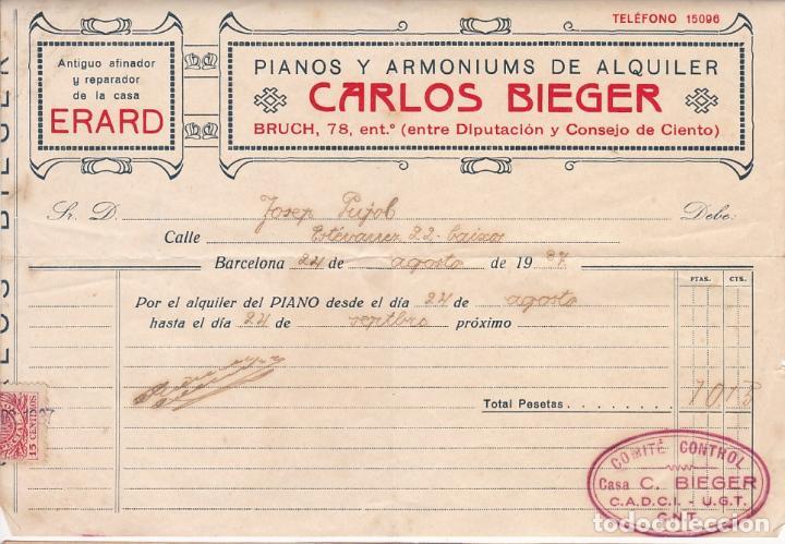 F8-4- GUERRA CIVIL . FACTURA PIANOS C. BIEGER BARCELONA CON MARCA COMITÉ CONTROL CADCI UGT CNT (Sellos - España - Guerra Civil - De 1.936 a 1.939 - Cartas)