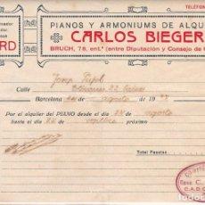 Sellos: F8-4- GUERRA CIVIL . FACTURA PIANOS C. BIEGER BARCELONA CON MARCA COMITÉ CONTROL CADCI UGT CNT. Lote 195267450