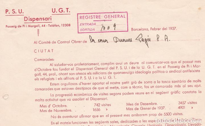 F8-5- GUERRA CIVIL .PANFLETO DISPENSARIO BARCELONA PSU .UGT 1937 (Sellos - España - Guerra Civil - De 1.936 a 1.939 - Cartas)