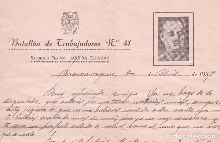 F8-6- GUERRA CIVIL .CARTA ILUSTRADA BATALLÓN TRABAJADORES 41 MASCARAQUE TOLEDO 1939 (Sellos - España - Guerra Civil - De 1.936 a 1.939 - Cartas)