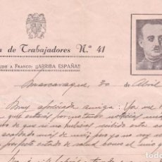 Sellos: F8-6- GUERRA CIVIL .CARTA ILUSTRADA BATALLÓN TRABAJADORES 41 MASCARAQUE TOLEDO 1939. Lote 195269371