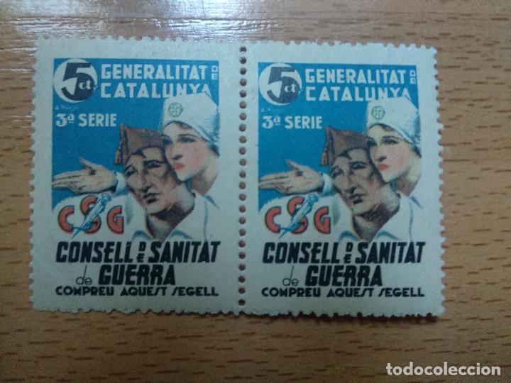 GENERALITAT DE CATALUNYA 5 CTS NUEVO CONSELL DE SANITAT DE GUERRA, BLOQUE DE 2 SELLOS. (Sellos - España - Guerra Civil - De 1.936 a 1.939 - Nuevos)