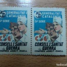 Sellos: GENERALITAT DE CATALUNYA 5 CTS NUEVO CONSELL DE SANITAT DE GUERRA, BLOQUE DE 2 SELLOS.. Lote 195295491