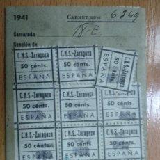 Sellos: SELLOS. CENTRAL NACIONAL SINDICALISTA. ZARAGOZA. C.N.S. AÑO 1941. Lote 195296421