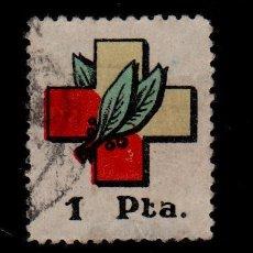 Sellos: 0553 GUERRA CIVIL SELLO CARLISTA DE LA OBRA SOCIAL DE FRENTES Y HOSPITALES. NO CATALOGADO EN FESOFI. Lote 195359898