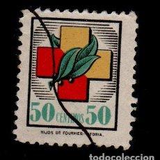 Sellos: 0553 GUERRA CIVIL SELLOS CARLISTAS DE LA OBRA SOCIAL FRENTES Y HOSPITALES VALOR 50 CTS. NO CATALOGA. Lote 195360822