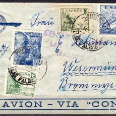 Sellos: CORREO AEREO PAR AVION VIA CONDOR, CENSURA MILITAR LAS PALMAS TRANSITO, DESTINO ALEMANIA. Lote 195430892