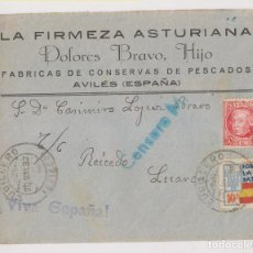Sellos: SOBRE. CUDILLERO A LUARCA. 1937. SELLO LOCAL Y CENSURA MILITAR.. Lote 195434885