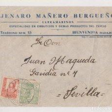 Sellos: FRONTAL. BIENVENIDA, BADAJOZ. 1937. SELLO LOCAL.. Lote 195435047