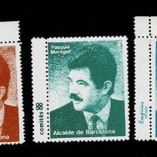Sellos: L33-15 VIÑETAS PASQUAL MARAGALL ALCALDE DE BARCELONA. Lote 195465147