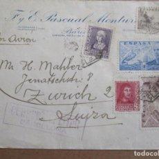 Sellos: CIRCULADA 1939 DE BARCELONA A ZURICH SUIZA CON CENSURA MILITAR Y MARCA DE SALAMANCA AL DORSO. Lote 195479441