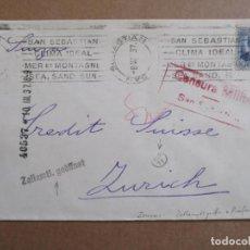 Sellos: CIRCULADA 1937 DE SAN SEBASTIAN CLIMA IDEAL A ZURICH SUIZA CON CENSURA MILITAR . Lote 195480021