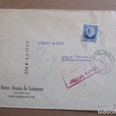 Sellos: CIRCULADA 1937 DE BANCO URQUIJO SAN SEBASTIAN A ZURICH SUIZA CON CENSURA MILITAR . Lote 195480107