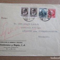 Sellos: CIRCULADA 1936 DE BILBAO ESTACION A AMONEBURG ALEMANIA. Lote 195486100