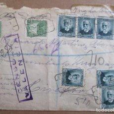 Sellos: CIRCULADA 1937 OCAÑA TOLEDO A CONSULADO URUGUAY LIVERPOOL INGLATERRA CON CENSURA MILITAR DE VALENCIA. Lote 195486660