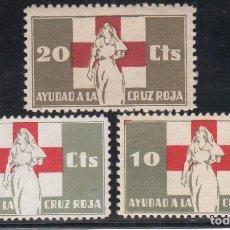 Sellos: GUERRA CIVIL, AYUDA A LA CRUZ ROJA , GILLAMÓN Nº 1650, 1650A, 1651. Lote 195496846