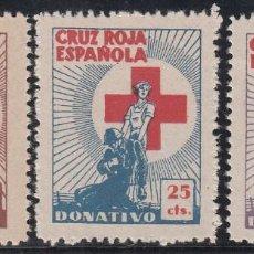 Sellos: GUERRA CIVIL, AYUDA A LA CRUZ ROJA , GILLAMÓN Nº 1652, 1653, 1654,. Lote 195497132