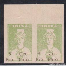 Sellos: GUERRA CIVIL, 1938 IBIZA GALVEZ Nº B 367, PAREJA SIN DENTAR, BORDE DE HOJA, NO CATALOGADO. . Lote 195540223