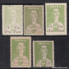 Sellos: GUERRA CIVIL, IBIZA, PRO PARO, 5 CTS , DISTINTO COLOR Y PAPEL . Lote 195541013