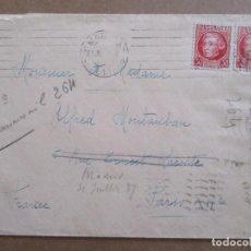 Francobolli: CIRCULADA 1937 DE MADRID A PARIS FRANCIA CON CENSURA REPUBLICANA. Lote 195558582