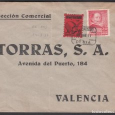 Sellos: CARTA, DENIA A VALENCIA, SELLO LOCAL ASISTENCIA SOCIAL DENIA, 5 CTS . Lote 195776512